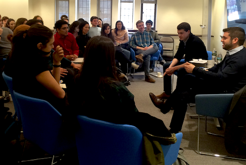 Dan Schwerin speaks with students at The Policy Lab.