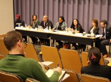 Kyisha Velazquez shares her reflections with Carla Shedd (center) and other panelists.